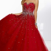 Full Length Strapless Sweetheart Ball Gown