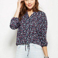 Peasant Top in Navy-Multi