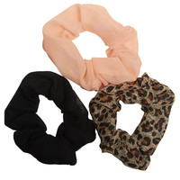Leopard Scrunchie Three Pack | Wet Seal
