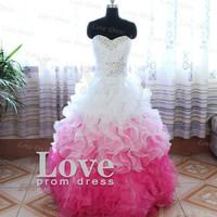 Cheap Ball Gown Sweetheart Strapless Flounced Prom Dress, Graduation Dress, Evening Dress, Formal Dress
