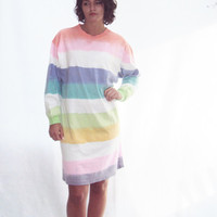 70s COLORFUL stripe t shirt dress S, M cotton t shirt dress