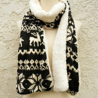 Furry Fair Isle Scarf [4888] - $10.00 : Vintage Inspired Clothing & Affordable Dresses, deloom | Modern. Vintage. Crafted.