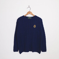 Navy Cable Knit Sweater Embroider Crest Sweater Navy Blue Sweater Preppy Sweater Oversize Sweater Boyfriend Sweater 80s 90s Sweater M L XL