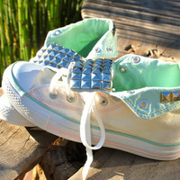 Studded Converse Sneakers - Hard to Find Cream and Mint Chucks - Hi Tops