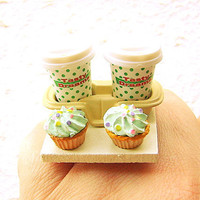 Miniature Food Ring 2 Coffees Cupcakes To Go by SouZouCreations