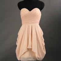 Chiffon Bridesmaid Dress, A-line Short Peach Bridesmaid Dress, Blush Bridesmaid Dress