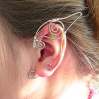 Pair of Silver Elf Ear Cuffs, Ear Wraps, Renaissance, Elven, Hobbit, Elf, Fantasy Ear Wraps,
