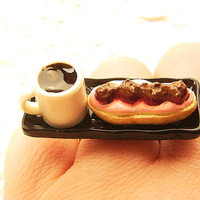 Kawaii Food Ring Coffee Cream Puff Miniature by SouZouCreations