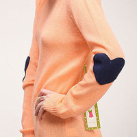 SPRING New Navy Heart Elbow Patch Pullover Sherbert Sweater - S M L
