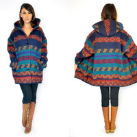 oversized SOUTHWESTERN slouchy boyfriend HOODED boho hippie native JACKET coat, small-extra large
