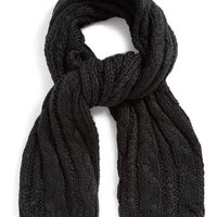 BLACK OVERSIZED CABLE KNIT SCARF - Sale