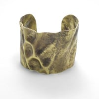 Large Chased Brass Cuff with Brushed Patina Size 6.5