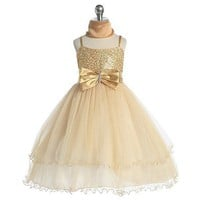 Chic Baby Girl Gold Sequin Flower Girl Pageant Easter Dress 2T-14