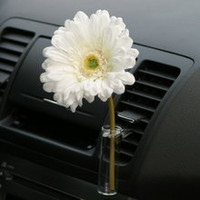 Fun Girly Car Accessory Auto Vase White Daisy Flower