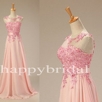 Long Pink See Through Lace Prom Dresses Beautiful Appliques Bridesmaid Dresses Homecoming Dresses Party Dresses Evening Dresses