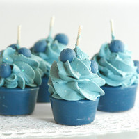 Soy Blueberry Lemon Scented Mini Cupcake Candles (4)