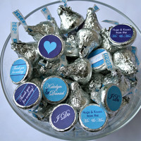 Wedding Favors- Personalized Purple and Cyan Hershey Kiss Labels- print your own
