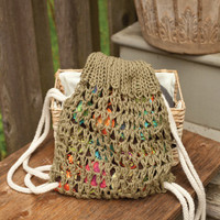 "Knitting PATTERN draw string bag knit and sewn 10"" tall"