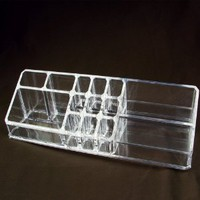 "Acrylic Cosmetic Organizer with 14 Compartments. 12""x 3 1/2"" X 3 1/2""h."