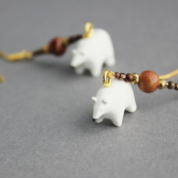 polar bear earrings polymer clay bears gold pyrite jasper dangle earrings