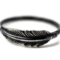Black Feather Ring, Oxidized Silver Ring, Feather Jewelry