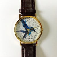 Vintage Bird Watch, Vintage Style Leather Watch, Vintage Map Print, Women Watches, Mens Watch, Boyfriend Watch, Unisex, Brown