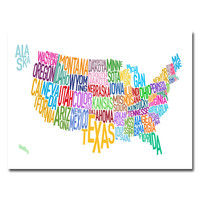 Michael Tompsett 'United States Text Map' Gallery-Wrapped Canvas Art