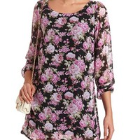 Chiffon Floral Print Shift Dress