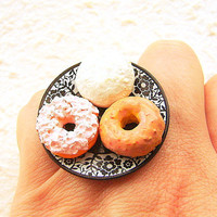 Kawaii Cute Japanese Ring Donuts Black Plate by SouZouCreations