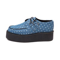 Womens T.U.K. Denim Dots Creeper Mondo Sole Shoe
