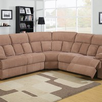3 pc Becky collection Callisto mocha fabric upholstered sectional sofa with recliners on the ends
