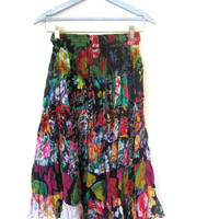 Vintage boho colorful floral sheer tiered hippie skirt / breezy // size s-m