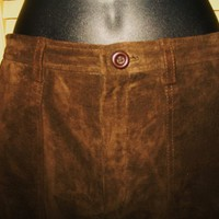 HIGH SIERRA  SUEDE LEATHER BROWN SKIRT LINED ! SIZE 10!