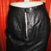 TANNERY WEST MINI SKIRT  LEATHER BLACK  LINED ! SIZE 8 ! MADE IN KOREA