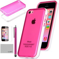 Pandamimi ULAK(TM) Ultra Slim Clear Back Soft Premium Hybrid Case Cover with Shock Absorption Bumper for Apple iPhone 5C and Screen Protector with Stylus (Rose Pink w/Bumper)