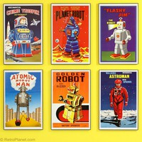 Robot Posters Set Framed Toy Robot Prints RetroPlanet.com