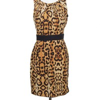 Leopard Print Sleeveless Dress with Black Waistband