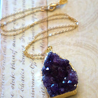 Brilliantly Amethyst Druzy Cluster Necklace, Druzy Jewelry, Geode Druzy