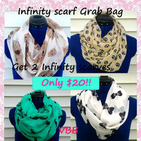 Infinity scarf grab bag - 2 scarves for only 20 dollars - sale scarves - loop scarf - women - teen