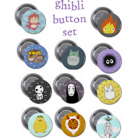 Studio Ghibli Pinback Button or Magnet Set of 11