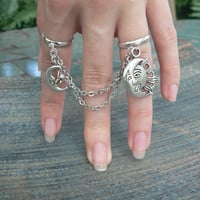 moon and sun double ring chained slave ring star sun moon goddess new age belly dancer celestial gypsy hippie morrocan boho and hipster