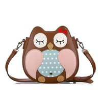 Cute Mixed Color Cartoon Owl Satchel Small Size Messenger Bag