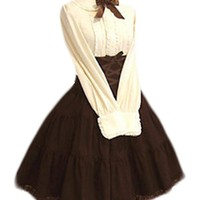 TOMSUIT Beige Long Sleeves Blouse Brown Skirt Lace Up School Lolita Set Dress