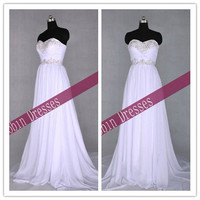 New Custom-made Strapless Sweetheart Long Floor Length White Prom Dresses