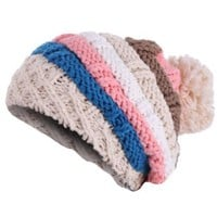 Ladies Chic Colorful Striped Design Winter Cable-Knitted Hat