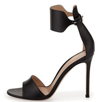 Gianvito Rossi Leather Cuff Ankle-Wrap Sandal, Black