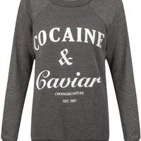 Forever Women's Cocaine And Caviar Print Fleece Sweatshirt Jumper