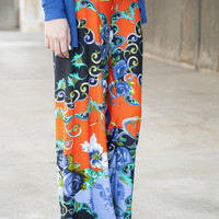 Orange Garden Party Palazzo Pants