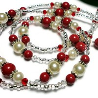 Lanyard Necklace Pearl Crystal Red Cream Rose Angel Fashion Jewelry | PinkCloudsAndAngels - Accessories on ArtFire