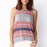 LOVE 21 Worldly Girl Swing Top Red/Grey